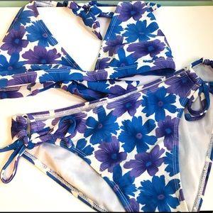 Purple/Blue Matching Floral Triangle Bikini Set M
